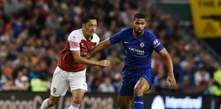 Mesut Ozil of Arsenal and Ruben Loftus Cheek of Chelsea