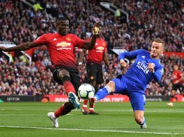 Eric Bailly of Manchester United and James Maddison of Leicester City battle for possession during the Premier League match between Manchester United and Leicester City at Old Trafford