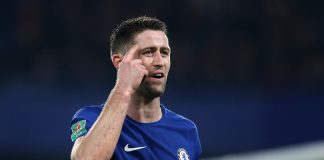 Gary Cahill of Chelsea during the Carabao Cup Quarter-Final match between Chelsea and AFC Bournemouth at Stamford Bridge