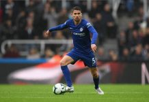 Chelsea player Jorginho in action during the Premier League match between Newcastle United and Chelsea FC at St. James Park