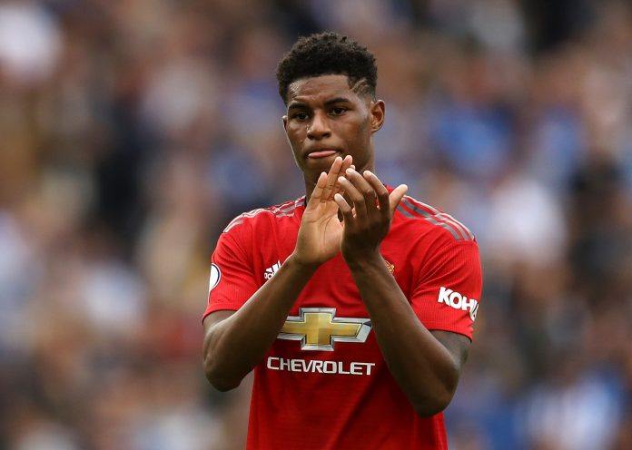 Marcus Rashford of Manchester United applauds fans