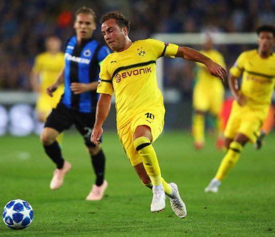 Mario Gotze of Borussia Dortmund in action during the Group A match of the UEFA Champions League between Club Brugge and Borussia Dortmund at Jan Breydel Stadium