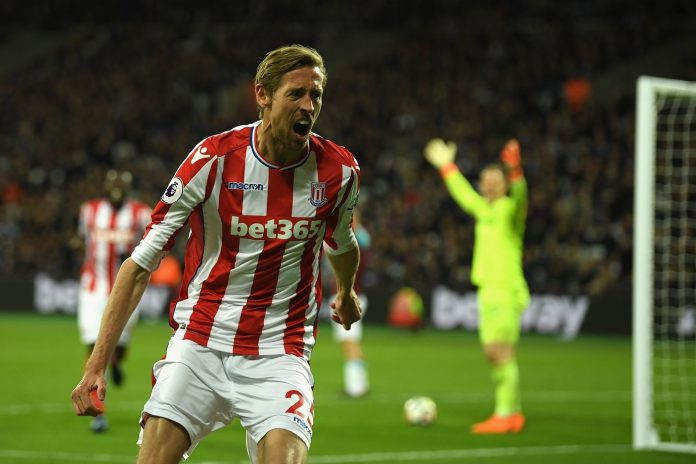 Peter Crouch of Stoke City celebrates scoring his sides first goal