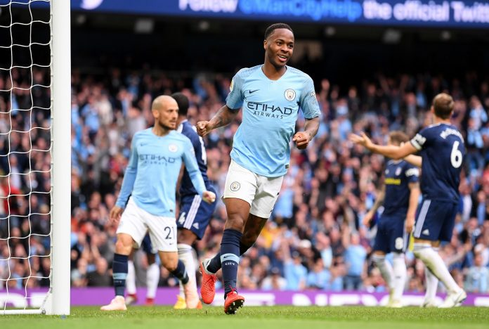 Raheem Sterling of Manchester City celebrates after scoring his team's second goal