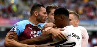Marcus Rashford of Manchester United and Phil Bardsley of Burnley clash leading to a red card for Rashford during the Premier League match between Burnley FC and Manchester United