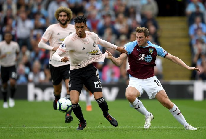 Chris Smalling of Manchester United tussles with Chris Wood of Burnley during the Premier League match between Burnley FC and Manchester United at Turf Moor