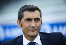 Head Coach of FC Barcelona Ernesto Valverde looks on during the La Liga match between Real Sociedad and FC Barcelona at Estadio Anoeta