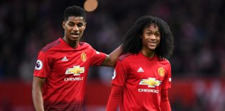 Marcus Rashford and Tahith Chong of Manchester United