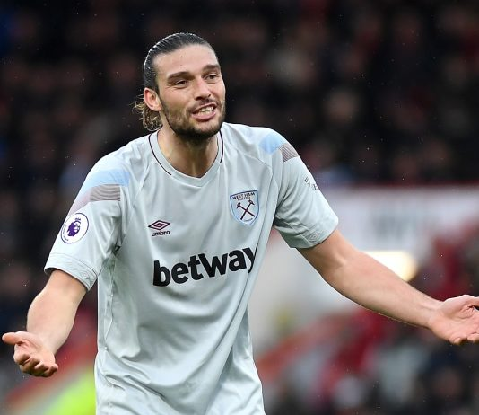 Andy Carroll of West Ham United reacts during the Premier League match between AFC Bournemouth and West Ham United at Vitality Stadium