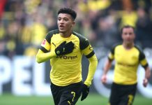 Jadon Sancho of Borussia Dortmund celebrates after scoring his team's first goal during the Bundesliga match between Borussia Dortmund and 1. FSV Mainz 05