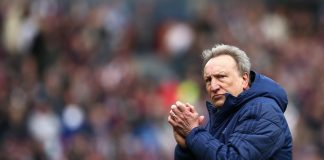 Neil Warnock, Manager of Cardiff City looks on after the Premier League match between Burnley FC and Cardiff City at Turf Moor