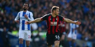 Ryan Fraser of AFC Bournemouth celebrates after scoring his team's second goal during the Premier League match