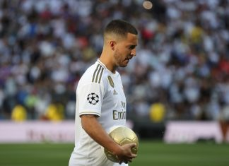 New Real Madrid signing Eden Hazard look on as as he is unveiled at Estadio Santiago Bernabeu