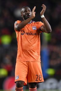 Tanguy Ndombele of Olympique Lyonnais  applauds the crowd after a Champions League match