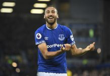 Cenk Tosun of Everton celebrates after scoring his team's second goal during a Premier League match