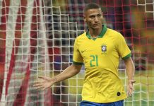 Richarlison of Brazil celebrates a scored goal during an International Friendly Match