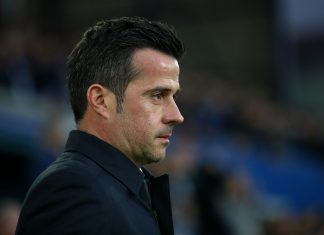 Everton manager Marco Silva on the touchline prior to the Premier League match between Everton FC and Burnley FC at Goodison Park