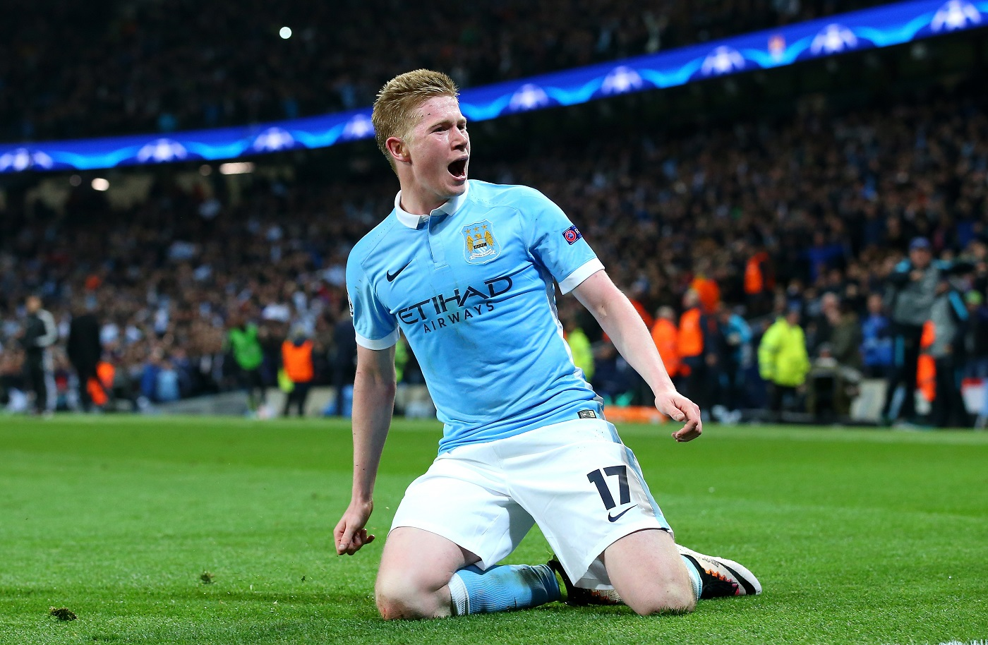 Kevin de Bruyne of Manchester City celebrates as he scores their first goal during a UEFA Champions League match