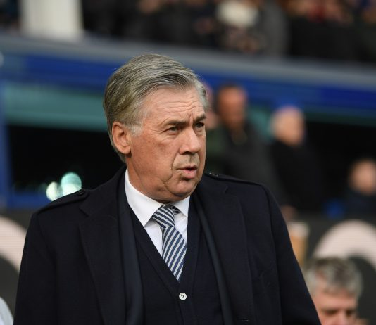 Everton manager Carlo Ancelotti during the Premier League match between Everton FC and Crystal Palace