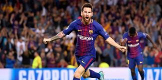 Lionel Messi of Barcelona celebrates scoring a goal