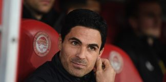 Arsenal manager Mikel Arteta before the UEFA Europa League round of 32 first leg match between Olympiacos FC and Arsenal FC