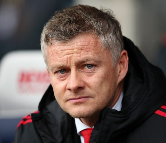 Manchester United manager Ole Gunnar Solskjaer looking on