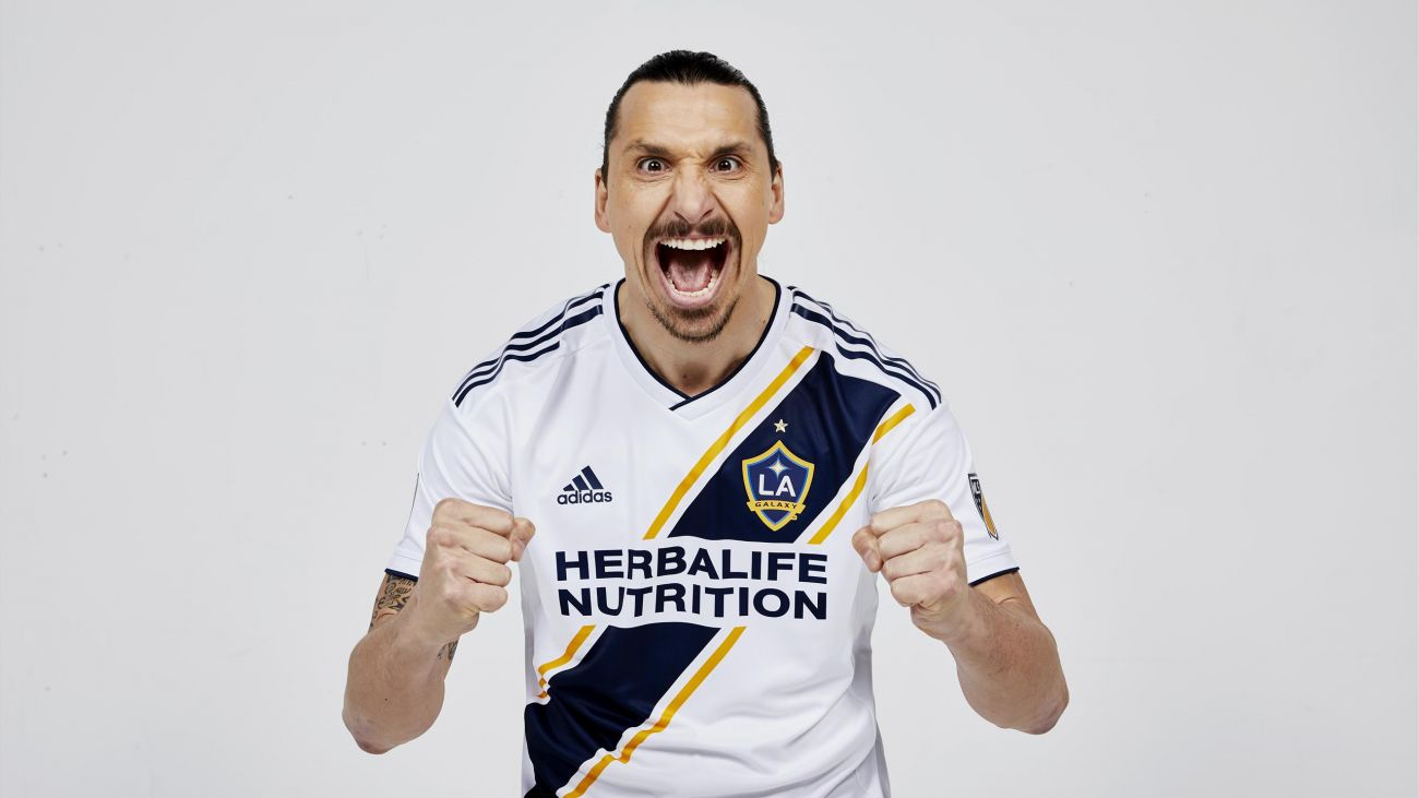 Zlatan Ibrahimovic with LA Galaxy jersey