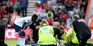 Michael Keane of Everton receives medical treatment during the Premier League match between AFC Bournemouth and Everton FC at Vitality Stadium