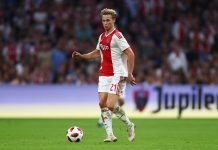 Frenkie de Jong of Ajax in action during the UEFA Champions League third round qualifying match between Ajax and Royal Standard de Liege at Johan Cruyff Arena