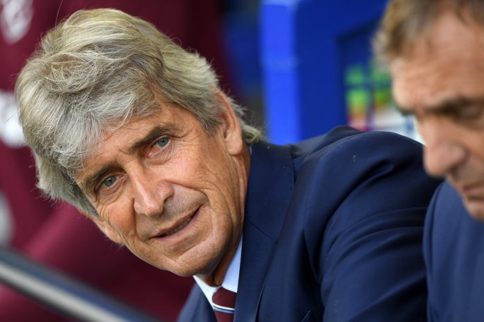 Manuel Pellegrini, Manager of West Ham United looks on prior to the Premier League match between Everton FC and West Ham United