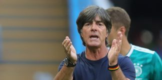 Joachim Low, head coach of Germany reacts during the 2018 FIFA World Cup