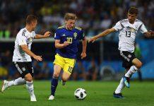 Emil Forsberg of Sweden and RB Leipzig
