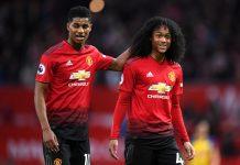 Marcus Rashford and Tahith Chong of Manchester United