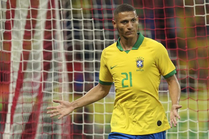 Richarlison of Brazil celebrates a scored goal during an International Friendly Match