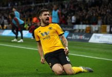 Ruben Neves of Wolverhampton Wanderers celebrates after scoring the first goal during the Premier League match between Wolverhampton Wanderers and Arsenal FC