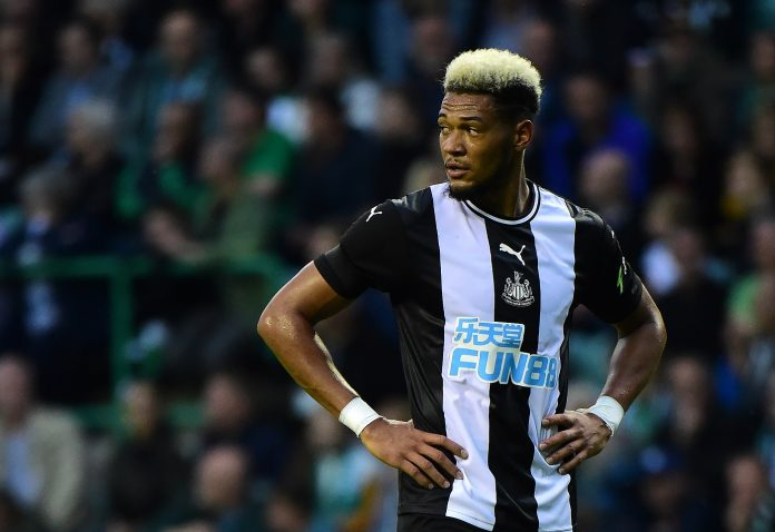 Joelinton of Newcastle in action during the Pre-Season Friendly match between Hibernian FC and Newcastle United FC