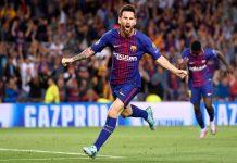 Lionel Messi of Barcelona celebrates scoring a goal