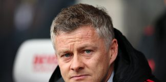 Manchester United manager Ole Gunnar Solskjaer looking on